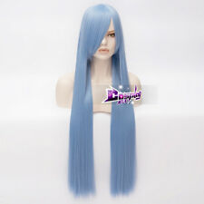 100CM Light Blue Long Straight Hair Basic Hair Women Anime Cosplay Wig + Wig Cap