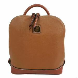 Dooney & Bourke Backpack Pod Leather Caramel Double Zip-Around Colorblock NEW