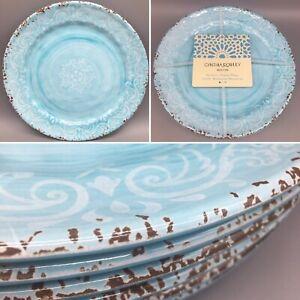 x6 Cynthia Rowley Blue MELAMINE Dinner Plate Set Aqua Rustic Medallion Swirl NEW