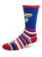Kansas Jayhawks NCAA Gray White Red and blue Striped Crew Socks
