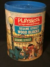 Vintage 1975 Playskool Sesame Street Wooden Blocks in Original Box