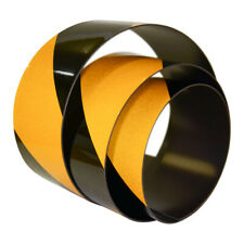 FLURO Magnetic Reflective Tape 1M x 50mm x 0.8mm Hi-Vis Black and Yellow Stripe