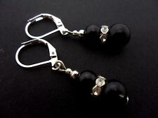 A PAIR SHORT DANGLY BLACK  GLASS PEARL  SILVER PLATED LEVERBACK HOOK  EARRINGS.