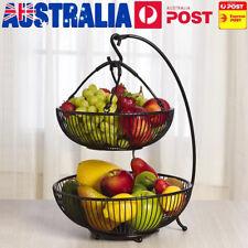 2 Tier Steel Wire Fruit Vegetable Basket Bowl Kitchen with Banana Hook