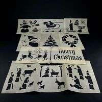 Vintage 50s/60s Glass Wax Christmas Stencils 9 Designs With Manger Scene Used