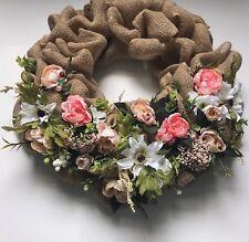 "Wreath Door Flower Summer Front Silk Flowers Floral Decor Burlap Handmade 18"""