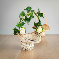 WEDDING BRIDESMAID WICKER FLOWER GIRL BASKET WHITE ROSE BUD & IVY HAND-MADE UK