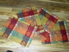 """4pc Rustic/Primitive Plaid Fabric Placemats~18"""" x 13""""~Place Mats~Gold/Red/green"""