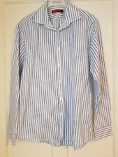 MENS BEN SHERMAN SHIRT BLUE WHITE STRIPE LONG SLEEVE XL VGC