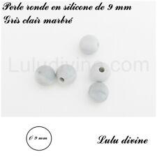 lot de 10 perles Gris clair marbré Perle ronde en silicone de 12 mm