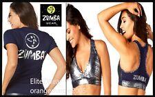 Zumba 2 Piece Set! All Night Metallic Silver Tank Tee Shirt + Bra Top EliteZWear