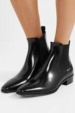 PRADA Ankle Boots 40 Black Glossed-leather Chelsea Booties Block Heel