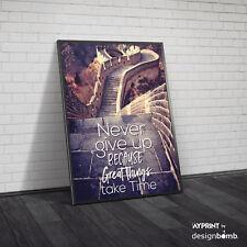 designbomb® Fotoplakat Chinesische Mauer Never Give Up Zitat Poster Plakat
