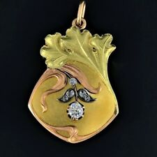 Antique Russian Art Nouveau Diamonds and Gold Locket Pendant, Moscow 1908