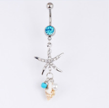 Starfish Dangle Belly Button Navel Rings Surgical Steel Body Piercing Jewelry