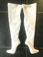 520€ Fernando Berlin 38 15cm thigh boot white leather leder fetish high heels