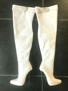 520€ Fernando Berlin 38 15cm thigh boot white leather leder fetish high heels