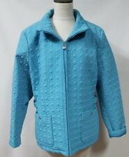 Gallery Woman Turquoise Blue Quilted Car Coat Jacket Size 22-24 Pockets