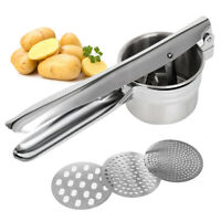 HAND HELD POTATO MASHER RICER PUREE FRUIT STAINLESS STEEL JUICER PRESS MAKER