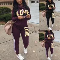 2Pcs Women's Tracksuit Letters High Neck Sweatshirt Tops Pants Lounge Wear Suits