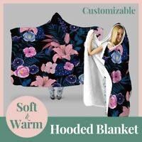 Personalized garden Rose dutch Floral Hooded Throw Blanket Fleece Hoodie Cape
