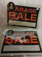 "NEW TWO GARAGE SALE SIGNS 8"" x 12"" RED BLACK PLASTIC (Lot of 2) = 4 signs (New)"