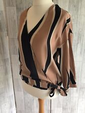Mint Velvet Black & Beige Striped Wrap Blouse, Ties At Side Uk10 Excellant Con