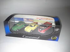 MODELS SET VW BEETLE, PORSCHE 356B COUPE, T1 PICK UP 1:72 CARARAMA. NEW IN BOX.