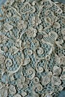 "Antique 19thC Handmade Floral Linen-Flax Lace~L-20"" X W-14"""
