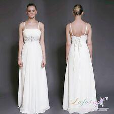 Brautkleider H053 Abendkleider Chiffon Schnüren cremeweiß Größe 36 38 Lafairy