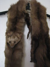 Double Sided Grey/White/Brown Vintage Mink Shawl/Stole  4'' Wide X 60'' Long