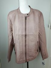 Ladies Light blush Pink  Leather Look With Rib Detail Jacket Smart Casual