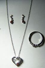 STERLING SILVER 0.52 CT GARNET HEART PENDANT, EARRINGS AND RING SET ~ SIZE 7