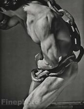1985 Vintage MALE NUDE Man With Chain Body Physique Photo Art ~ HERB RITTS 16x20