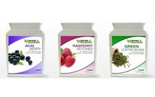 60 Raspberry Ketone & 60 Green Coffee Bean Extract & 60 Acai Berry Diet Pack BOT