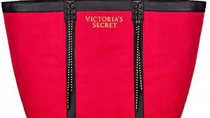 VICTORIA'S SECRET RED/BLACK STUDDED FRINGE  XL CHRISTMAS TOTE GETEAWAY BAG