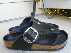 Birkenstock Gizeh black Leather Sandals 39 made in germany