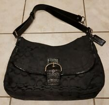 Coach Canvas Black Shoulder bag mix with patent leather SHW classy