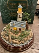 """Thomas Kinkade Lighted Lighthouse """"A Light in the Storm"""" Used in box"""