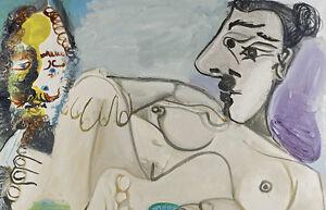"""Nu Couche et tete d'homme by Pablo Picasso Huge 47.2"""" x 30.4"""" Premium Giclee"""
