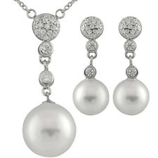 Fancy S.Silver earrings & necklace with 10mm & 12mm shell pearls and CZ OCS-04