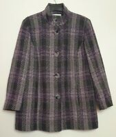 DEBENHAMS (UK Size 18) Wool Blend Purple & Black Checkered/Tartan Jacket/Coat