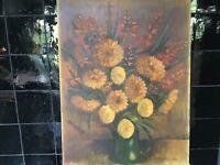 Vintage Oil Painting Still Life Browns Flowers Jug Vase E Warmington 35cm By45cm