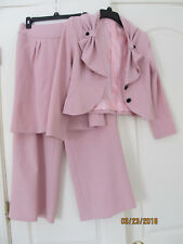 NWOT 3PC Skirt Pant Suit Pink Black Pinstriped Polyester Long Sleeve Womens 4P