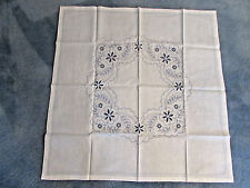 uNew Vintage linen taupe cream tablecloth topper gray embroidery 37 inch