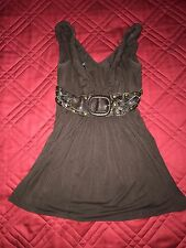 SKY BROWN TOP WITH LEATHER FAUX BELT UNDER CHEST SIZE M FITS LIKE XS