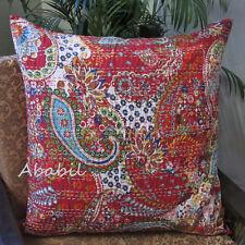 "24X24"" Red Pillow Cushion Covers Bohemian Floral Kantha Stitch Case Decor Throw"