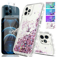 For iPhone 12 Pro Max Liquid Shiny Bling Case / Lens / Screen Tempered Glass