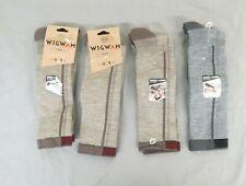 (4) Pairs Wigwam Rebel Fusion Crew II Sock & Liner Size Large 3x Khaki 1x Gray