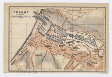 1919 ORIGINAL ANTIQUE CITY MAP OF FECAMP / NORMANDY NORMANDIE / FRANCE